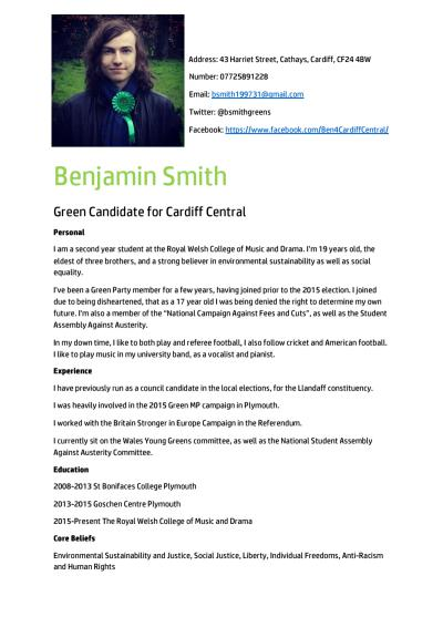 Thumbnail of CV for Benjamin  Smith