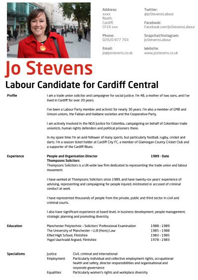 Thumbnail of CV for Jo Stevens